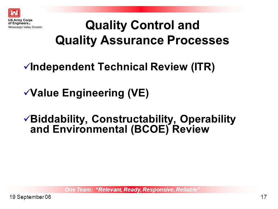 One Team: Relevant, Ready, Responsive, Reliable 19 September 0617 Quality Control and Quality Assurance Processes Independent Technical Review (ITR) V