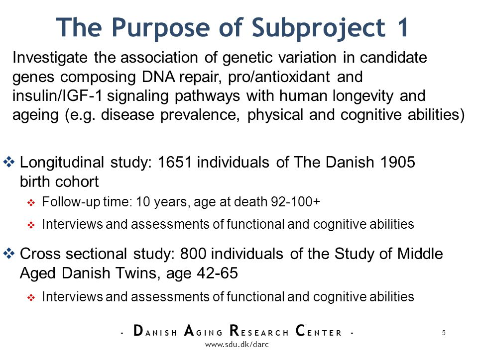 - D A N I S H A G I N G R E S E A R C H C E N T E R - www.sdu.dk/darc Status of Subproject 1 Literature search choosing 168 candidate genes Association studies of longevity and/or age-related diseases Relevant for premature aging syndromes Animal research (e.g.