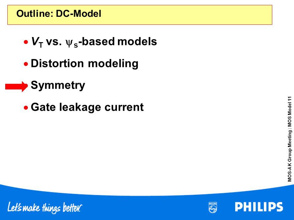 MOS-AK Group Meeting : MOS Model 11 Outline: DC-Model V T vs. s -based models Distortion modeling Symmetry Gate leakage current