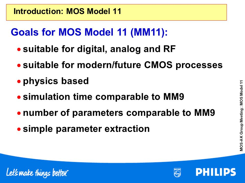 MOS-AK Group Meeting : MOS Model 11 suitable for digital, analog and RF suitable for modern/future CMOS processes physics based simulation time compar