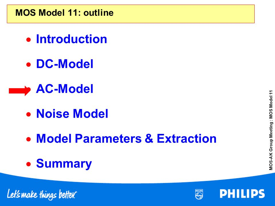 MOS-AK Group Meeting : MOS Model 11 MOS Model 11: outline Introduction DC-Model AC-Model Noise Model Model Parameters & Extraction Summary