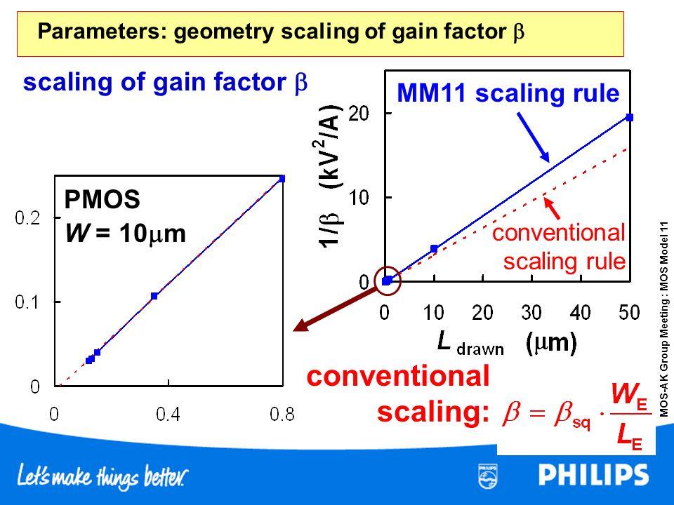 MOS-AK Group Meeting : MOS Model 11 MM11 scaling rule conventional scaling rule conventional scaling: scaling of gain factor PMOS W = 10 m Parameters: