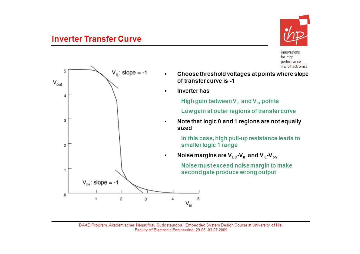 DAAD Program Akademischer Neuaufbau Südosteuropa, Embedded System Design Course at University of Nis, Faculty of Electronic Engineering, 29.06.-03.07.2009 Choose threshold voltages at points where slope of transfer curve is -1 Inverter has High gain between V IL and V IH points Low gain at outer regions of transfer curve Note that logic 0 and 1 regions are not equally sized In this case, high pull-up resistance leads to smaller logic 1 range Noise margins are V DD -V IH and V IL -V SS Noise must exceed noise margin to make second gate produce wrong output Inverter Transfer Curve