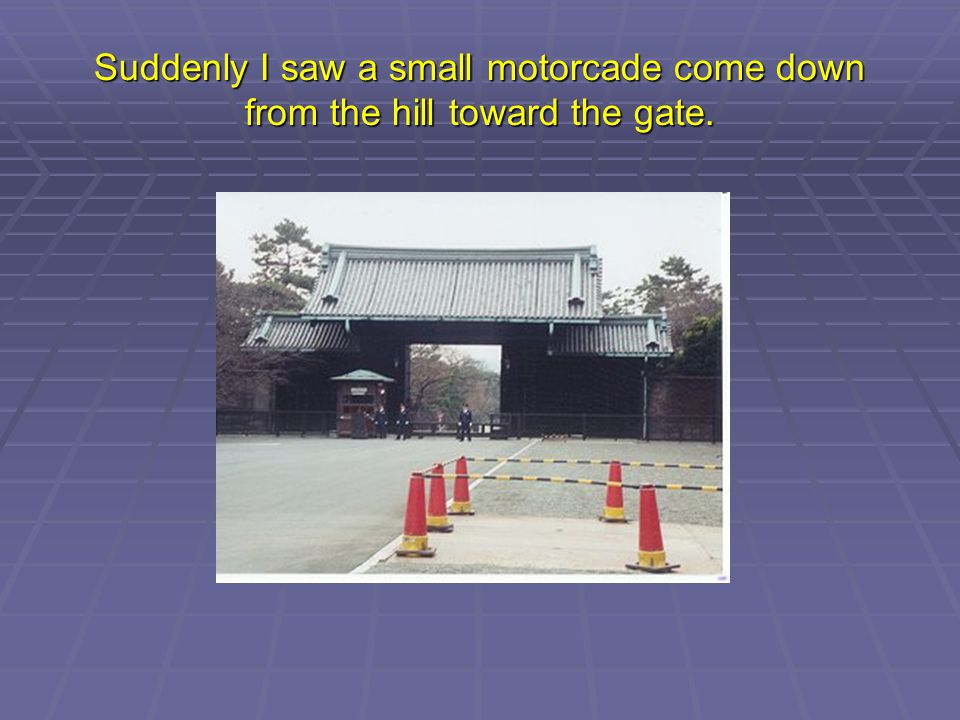 Suddenly I saw a small motorcade come down from the hill toward the gate.