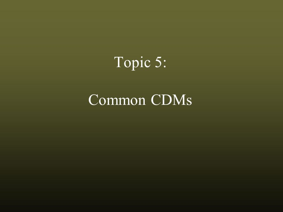 Topic 5: Common CDMs
