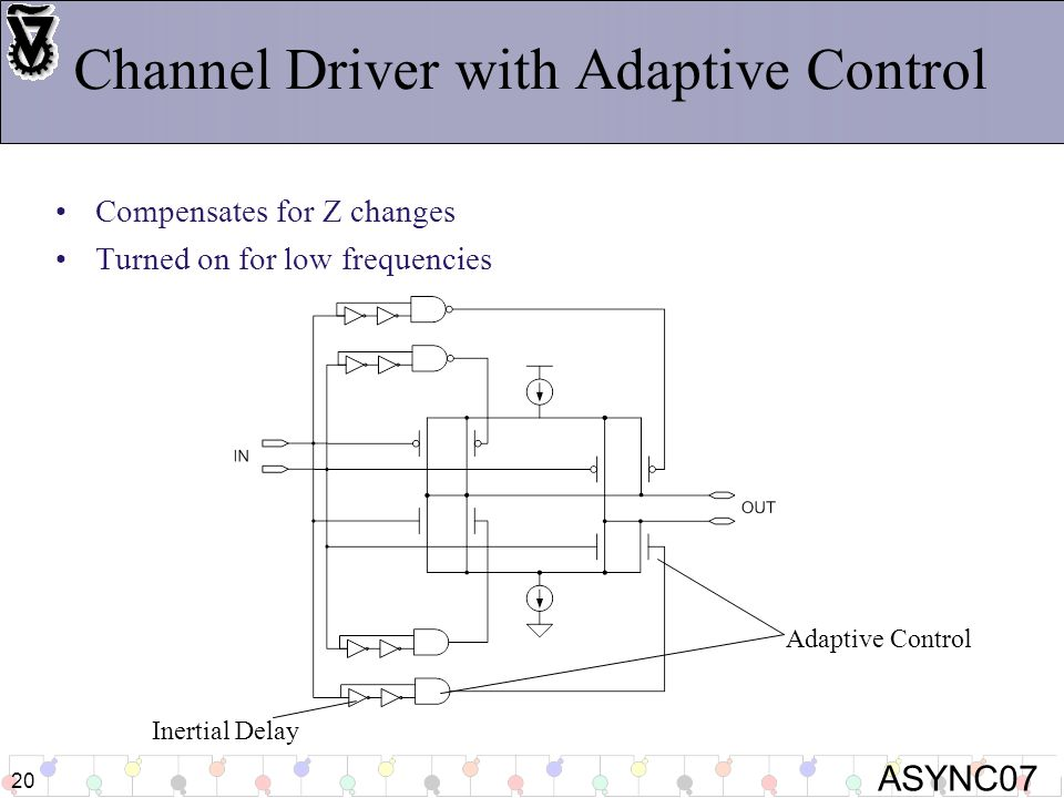 ASYNC07 20 Channel Driver with Adaptive Control Compensates for Z changes Turned on for low frequencies Adaptive Control Inertial Delay