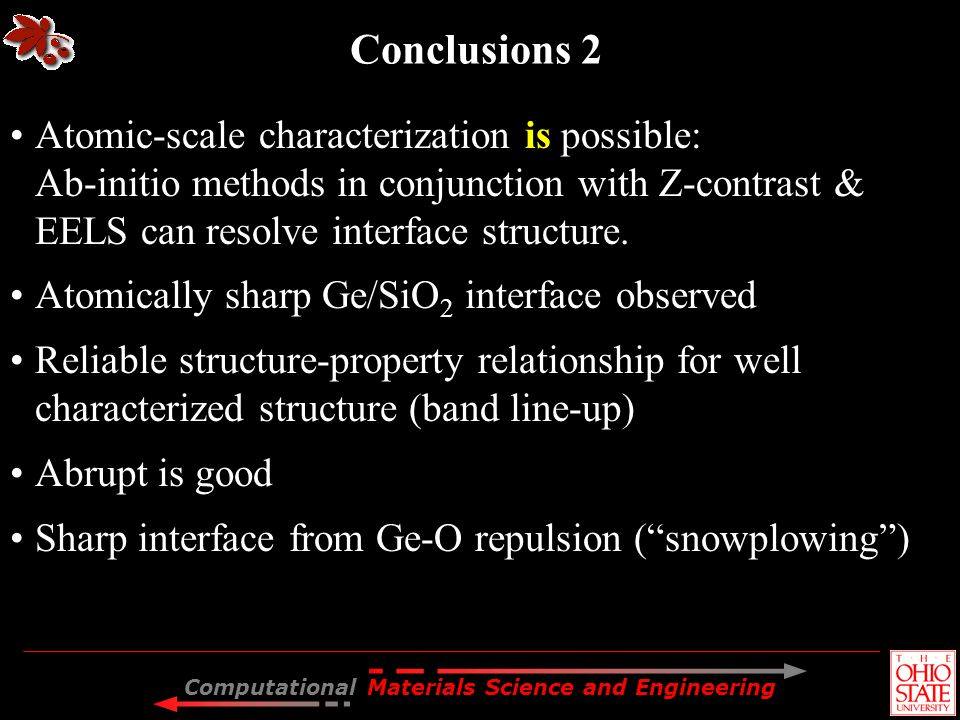 Computational Materials Science and Engineering Conclusions 2 Atomic-scale characterization is possible: Ab-initio methods in conjunction with Z-contr