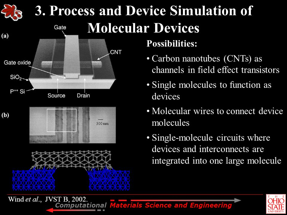 Computational Materials Science and Engineering Wind et al., JVST B, 2002. Possibilities: Carbon nanotubes (CNTs) as channels in field effect transist
