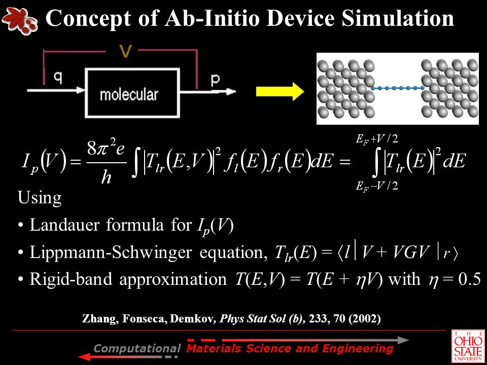 Computational Materials Science and Engineering device Concept of Ab-Initio Device Simulation Zhang, Fonseca, Demkov, Phys Stat Sol (b), 233, 70 (2002