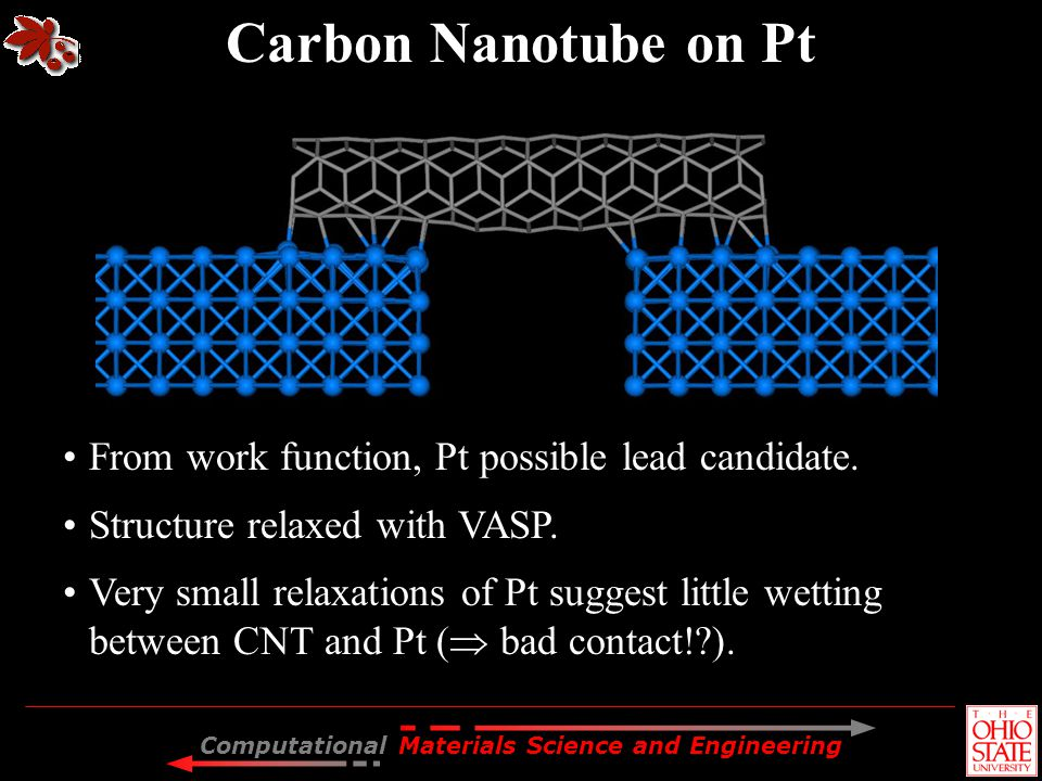 Computational Materials Science and Engineering Carbon Nanotube on Pt From work function, Pt possible lead candidate. Structure relaxed with VASP. Ver