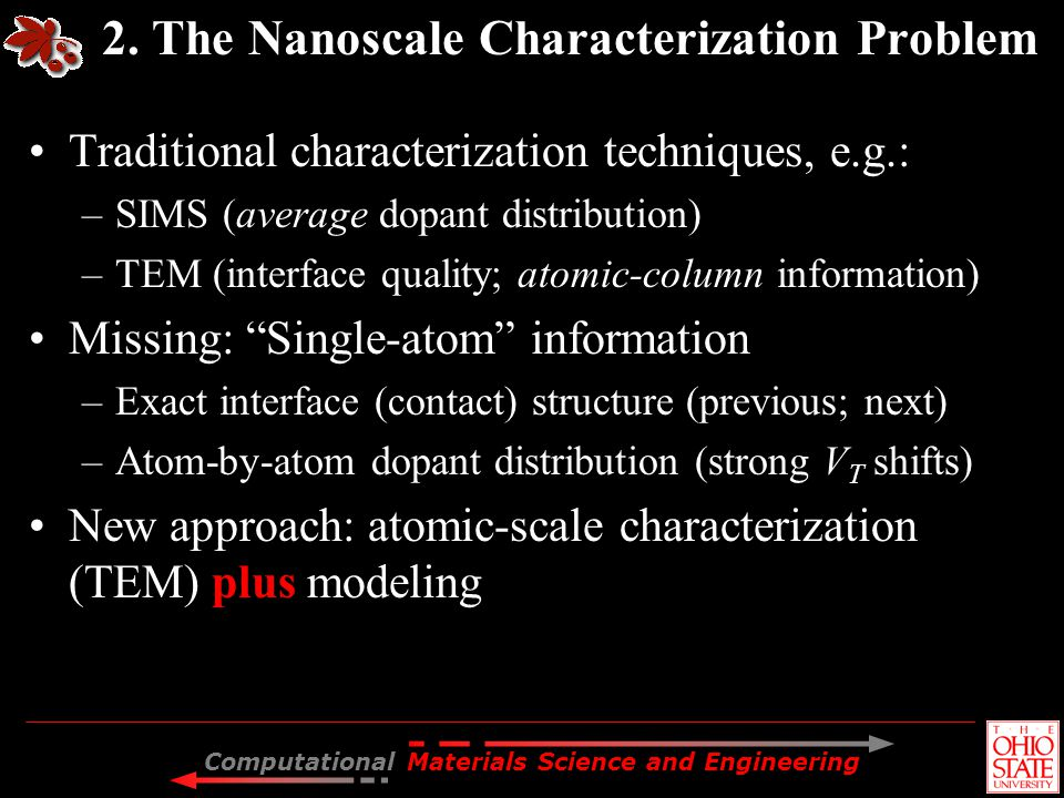 Computational Materials Science and Engineering 2. The Nanoscale Characterization Problem Traditional characterization techniques, e.g.: –SIMS (averag