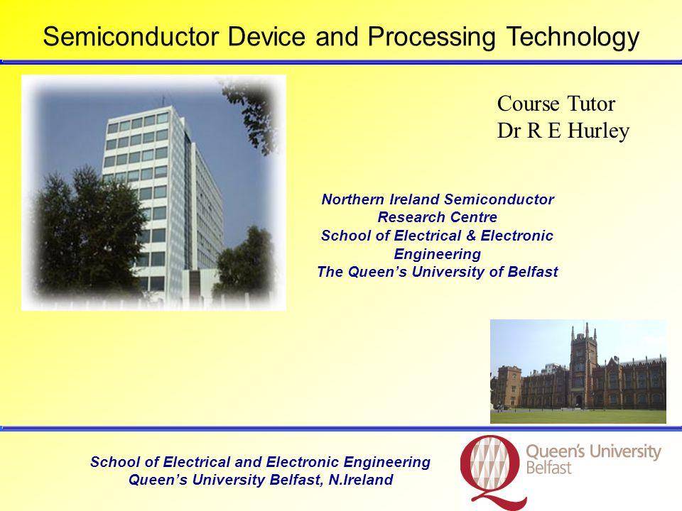 School of Electronic Engineering and Computer Science Queens University Belfast, N.Ireland, UK GeSiGaAs Energy gap (ev)0.671.11.4 Intrinsic carrier conc.