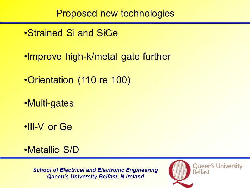 School of Electrical and Electronic Engineering Queens University Belfast, N.Ireland Copper for contacts 32 nm: Copper to replace tungsten plugs (plugs make contact to S/D).