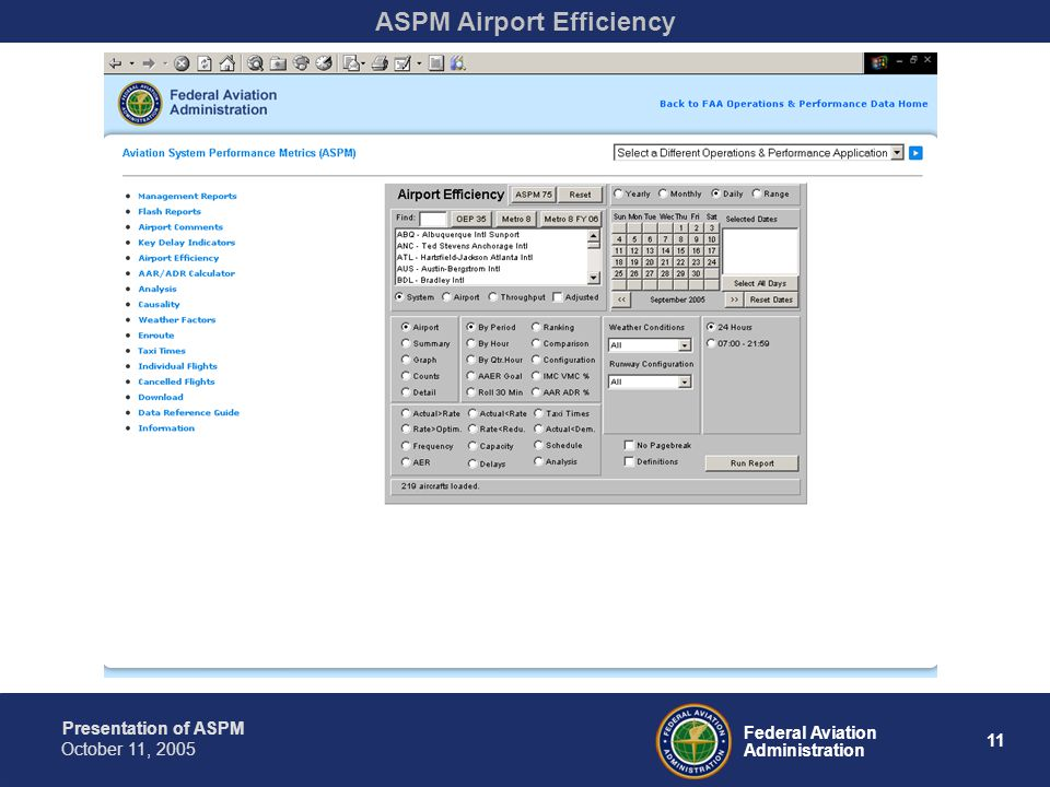 Presentation of ASPM 11 Federal Aviation Administration October 11, 2005 ASPM Airport Efficiency