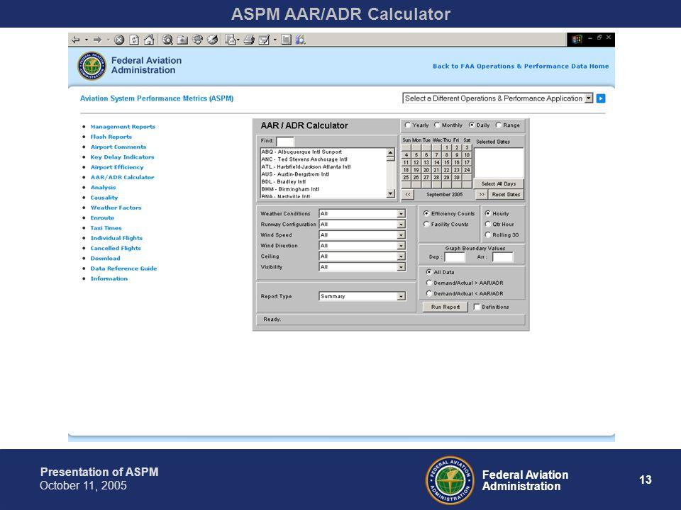 Presentation of ASPM 13 Federal Aviation Administration October 11, 2005 ASPM AAR/ADR Calculator