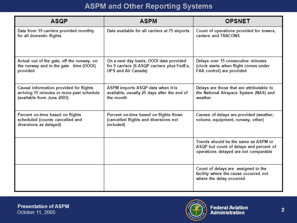 Presentation of ASPM 33 Federal Aviation Administration October 11, 2005 Terminal Area Forecast (TAF)