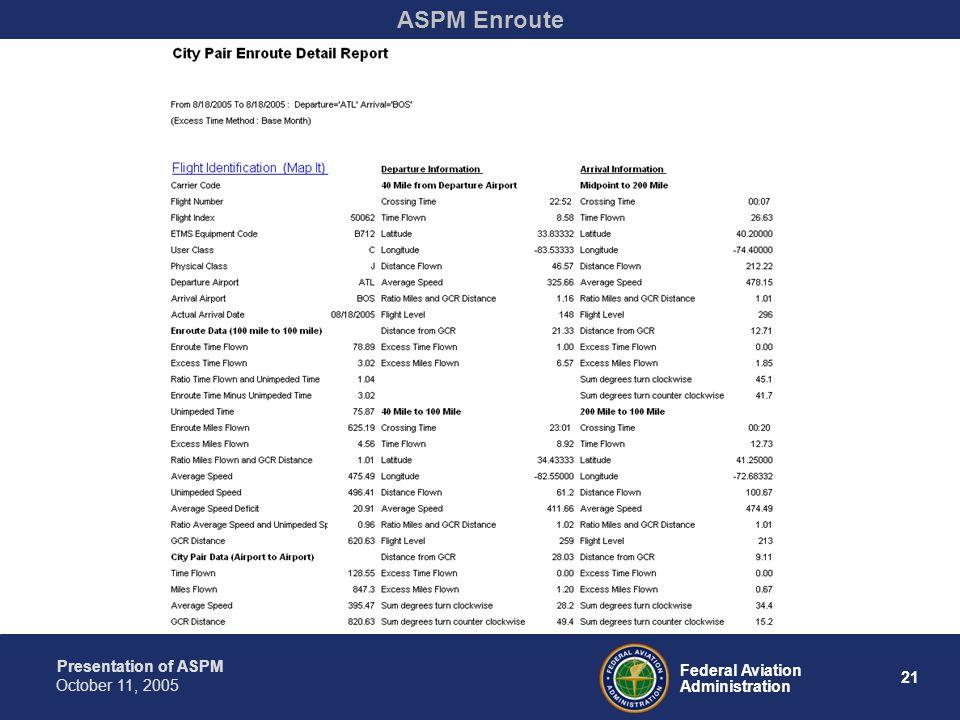 Presentation of ASPM 21 Federal Aviation Administration October 11, 2005 ASPM Enroute