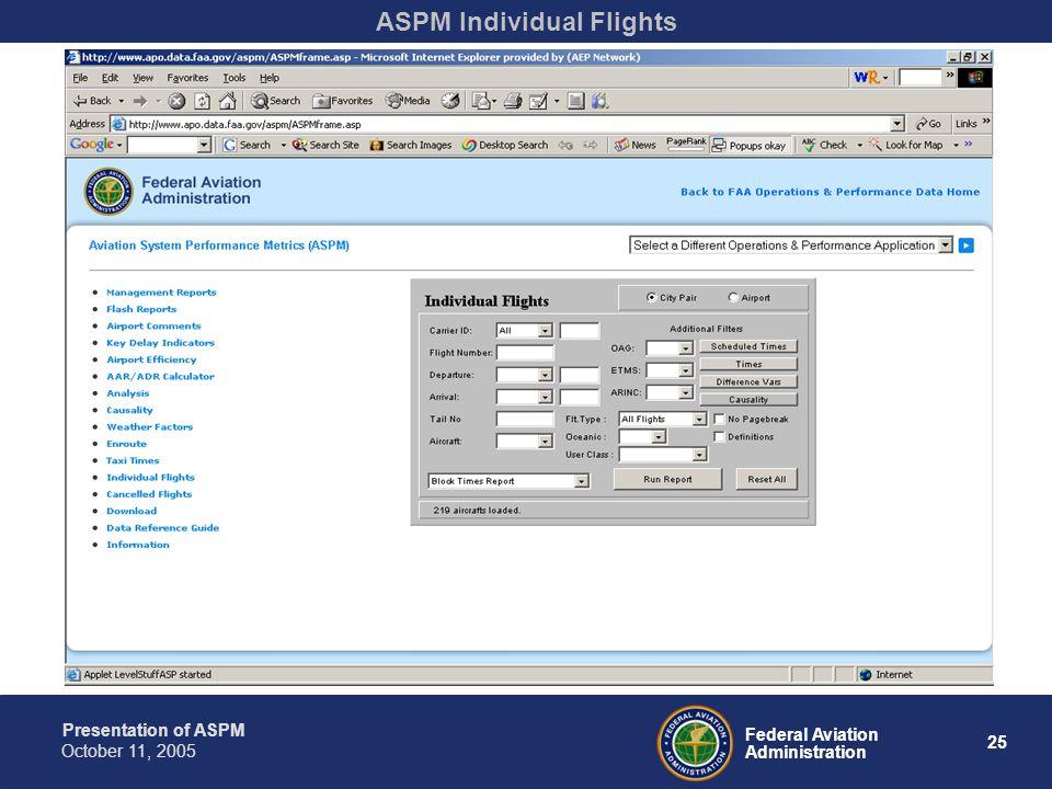 Presentation of ASPM 25 Federal Aviation Administration October 11, 2005 ASPM Individual Flights