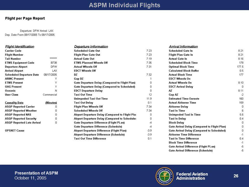 Presentation of ASPM 26 Federal Aviation Administration October 11, 2005 ASPM Individual Flights