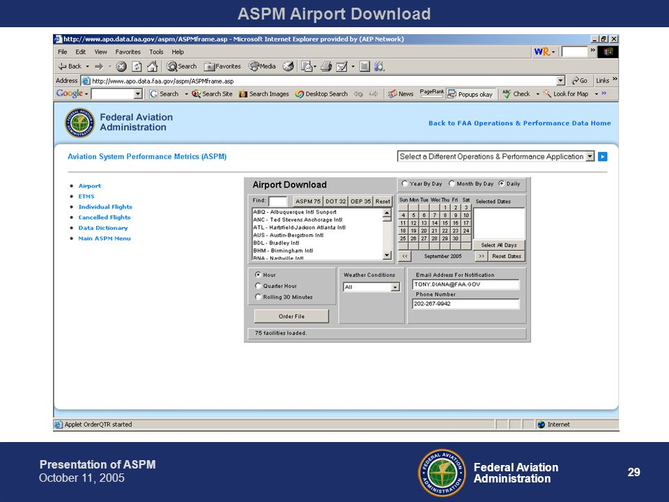 Presentation of ASPM 29 Federal Aviation Administration October 11, 2005 ASPM Airport Download