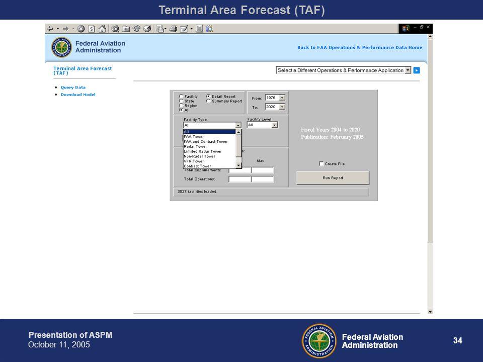 Presentation of ASPM 34 Federal Aviation Administration October 11, 2005 Terminal Area Forecast (TAF)