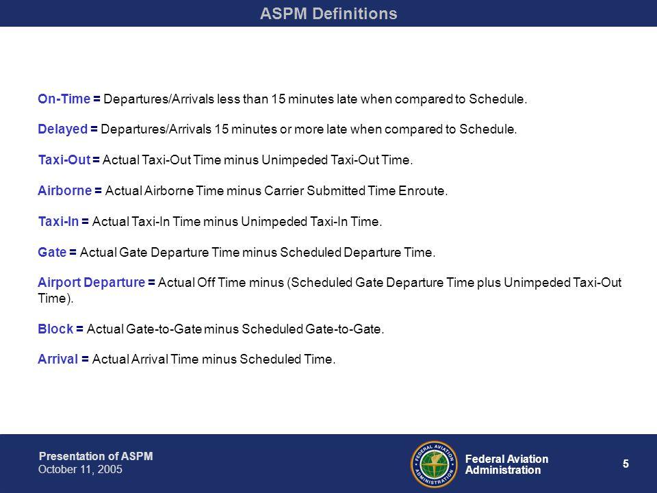 Presentation of ASPM 16 Federal Aviation Administration October 11, 2005 ASPM Causality
