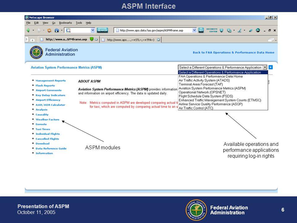 Presentation of ASPM 7 Federal Aviation Administration October 11, 2005 ASPM Management Report