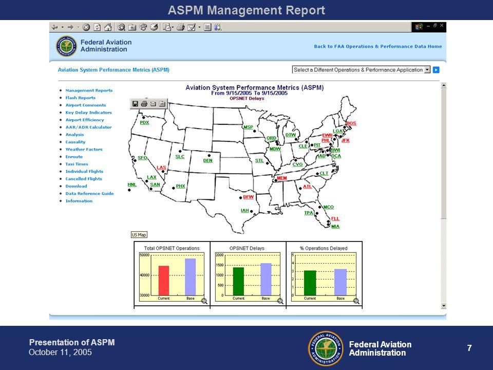 Presentation of ASPM 8 Federal Aviation Administration October 11, 2005 ASPM Management Report