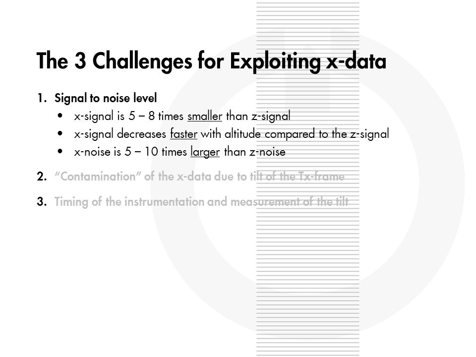 The 3 Challenges for Exploiting x-data 1.Signal to noise level x-signal is 5 – 8 times smaller than z-signal x-signal decreases faster with altitude compared to the z-signal x-noise is 5 – 10 times larger than z-noise 2.Contamination of the x-data due to tilt of the Tx-frame 3.Timing of the instrumentation and measurement of the tilt