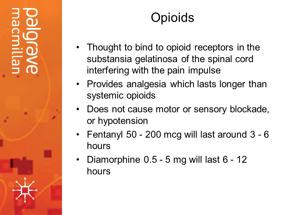 Opioids Thought to bind to opioid receptors in the substansia gelatinosa of the spinal cord interfering with the pain impulse Provides analgesia which