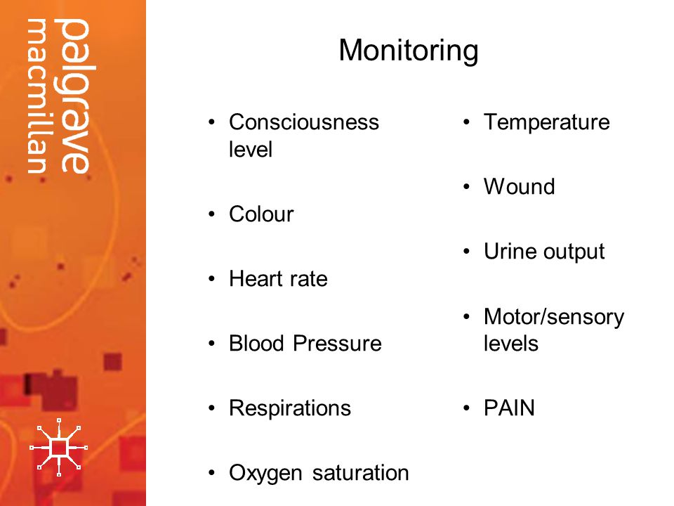 Monitoring Consciousness level Colour Heart rate Blood Pressure Respirations Oxygen saturation Temperature Wound Urine output Motor/sensory levels PAI