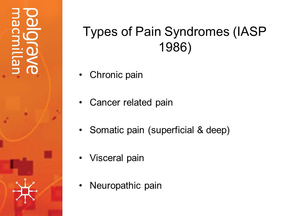 Types of Pain Syndromes (IASP 1986) Chronic pain Cancer related pain Somatic pain (superficial & deep) Visceral pain Neuropathic pain