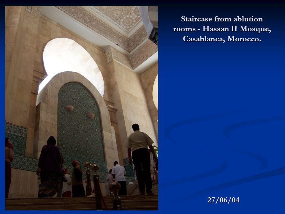 Staircase from ablution rooms - Hassan II Mosque, Casablanca, Morocco. 27/06/04