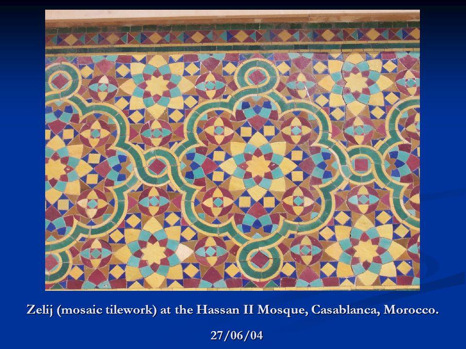 Zelij (mosaic tilework) at the Hassan II Mosque, Casablanca, Morocco. 27/06/04