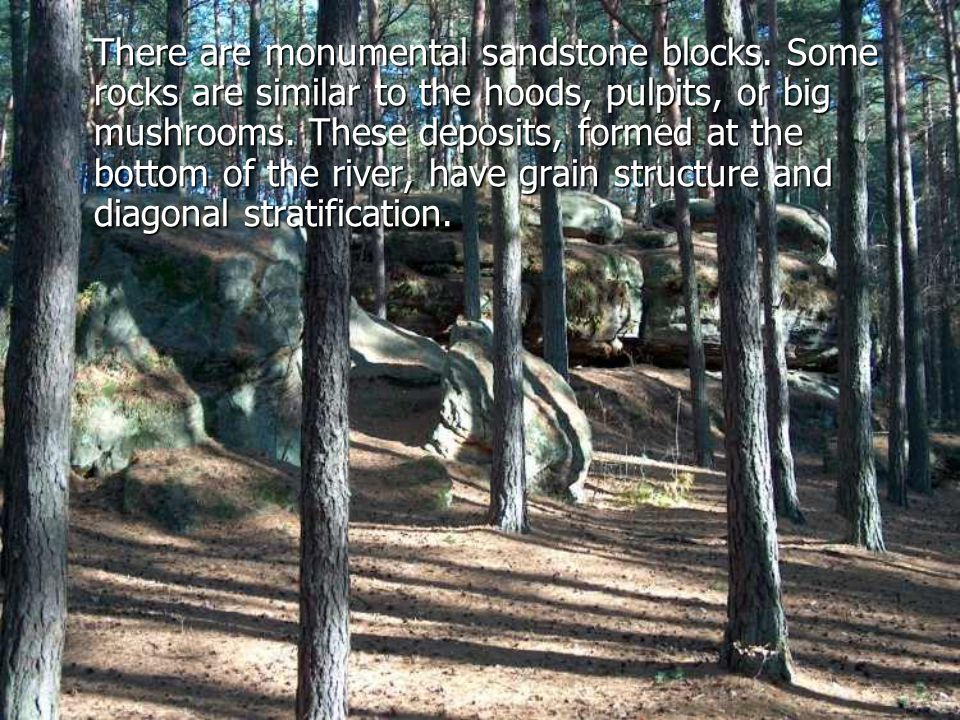 There are monumental sandstone blocks.