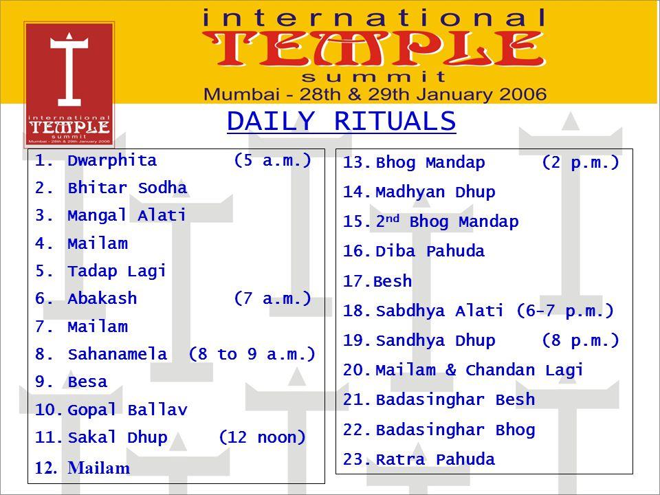 1.Dwarphita (5 a.m.) 2. Bhitar Sodha 3.