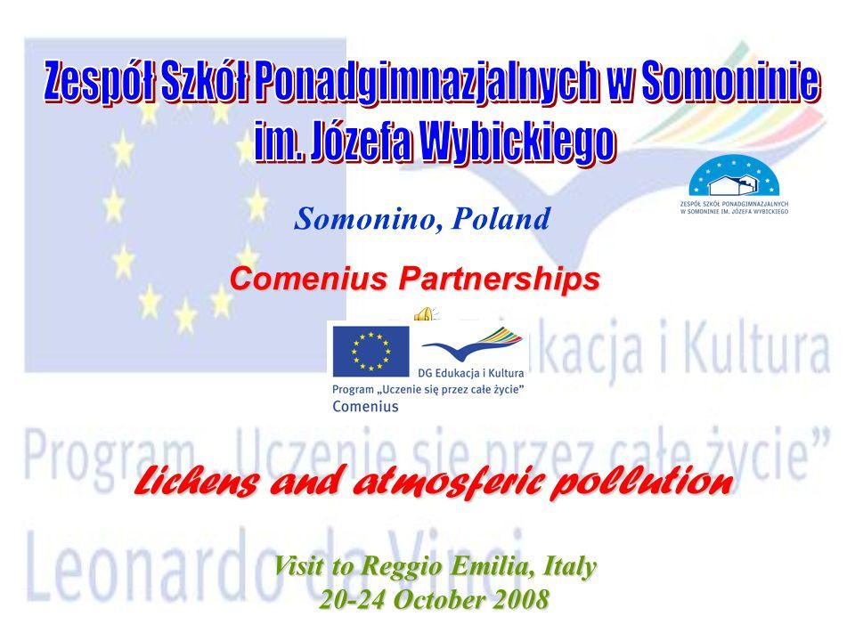 Somonino, Poland Comenius Partnerships Lichens and atmosferic pollution Visit to Reggio Emilia, Italy 20-24 October 2008