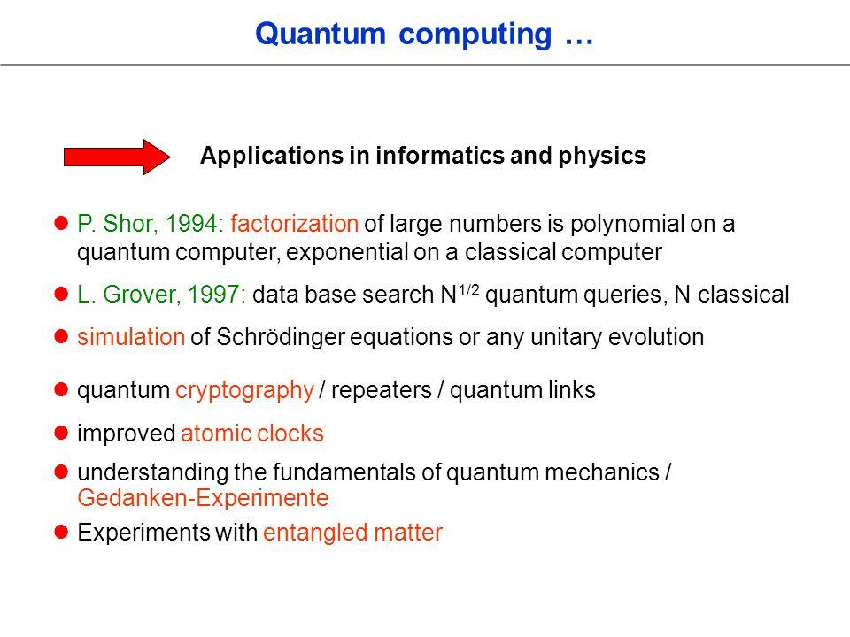 Quantum computing … Applications in informatics and physics P.