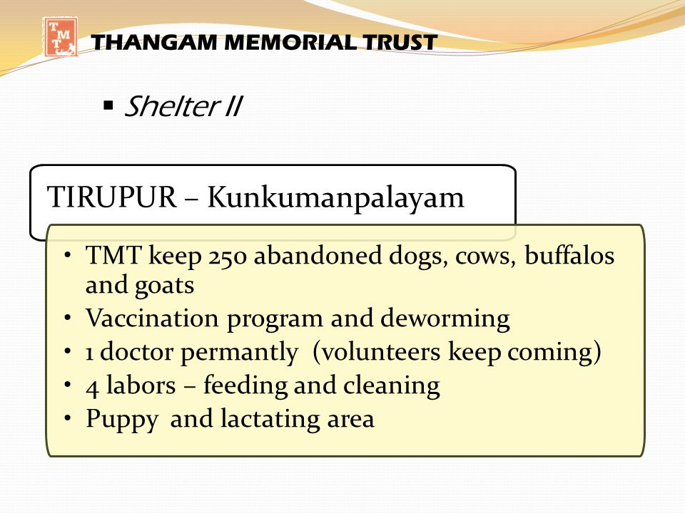 THANGAM MEMORIAL TRUST Shelter II TIRUPUR – Kunkumanpalayam TMT keep 250 abandoned dogs, cows, buffalos and goats Vaccination program and deworming 1 doctor permantly (volunteers keep coming) 4 labors – feeding and cleaning Puppy and lactating area