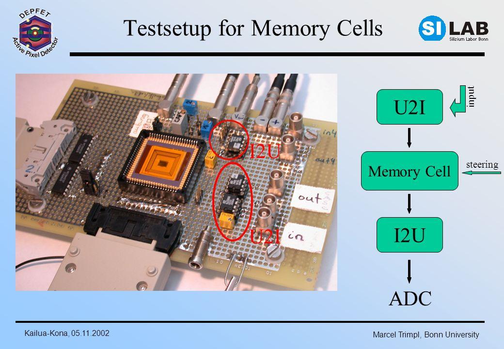 Kailua-Kona, 05.11.2002 Marcel Trimpl, Bonn University Testsetup for Memory Cells Memory Cell steering U2I I2U U2I ADC input I2U