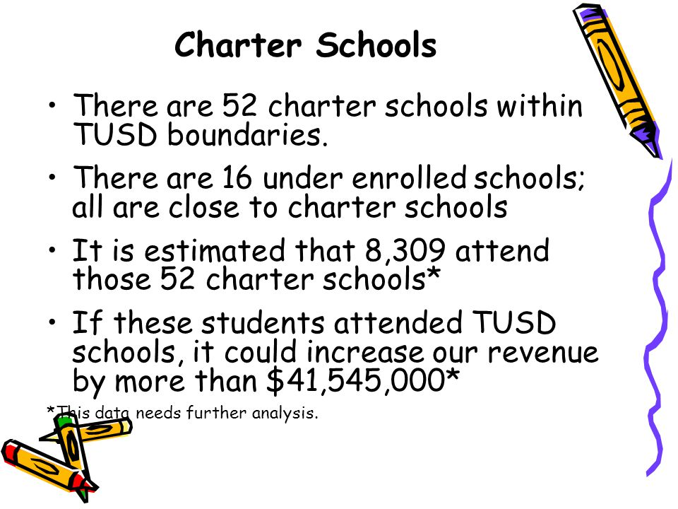 Charter Schools There are 52 charter schools within TUSD boundaries. There are 16 under enrolled schools; all are close to charter schools It is estim