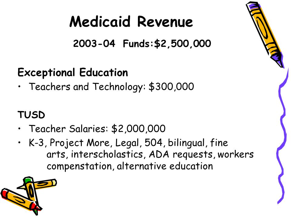 Medicaid Revenue 2003-04 Funds:$2,500,000 Exceptional Education Teachers and Technology: $300,000 TUSD Teacher Salaries: $2,000,000 K-3, Project More, Legal, 504, bilingual, fine arts, interscholastics, ADA requests, workers compenstation, alternative education