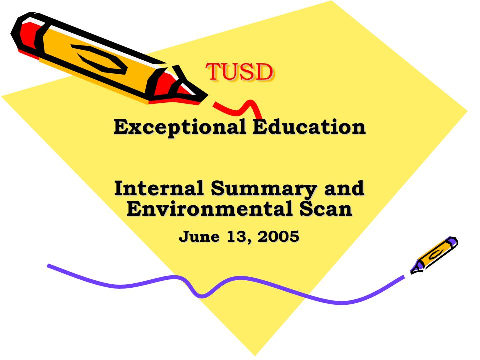 TUSDTUSD Exceptional Education Internal Summary and Environmental Scan June 13, 2005