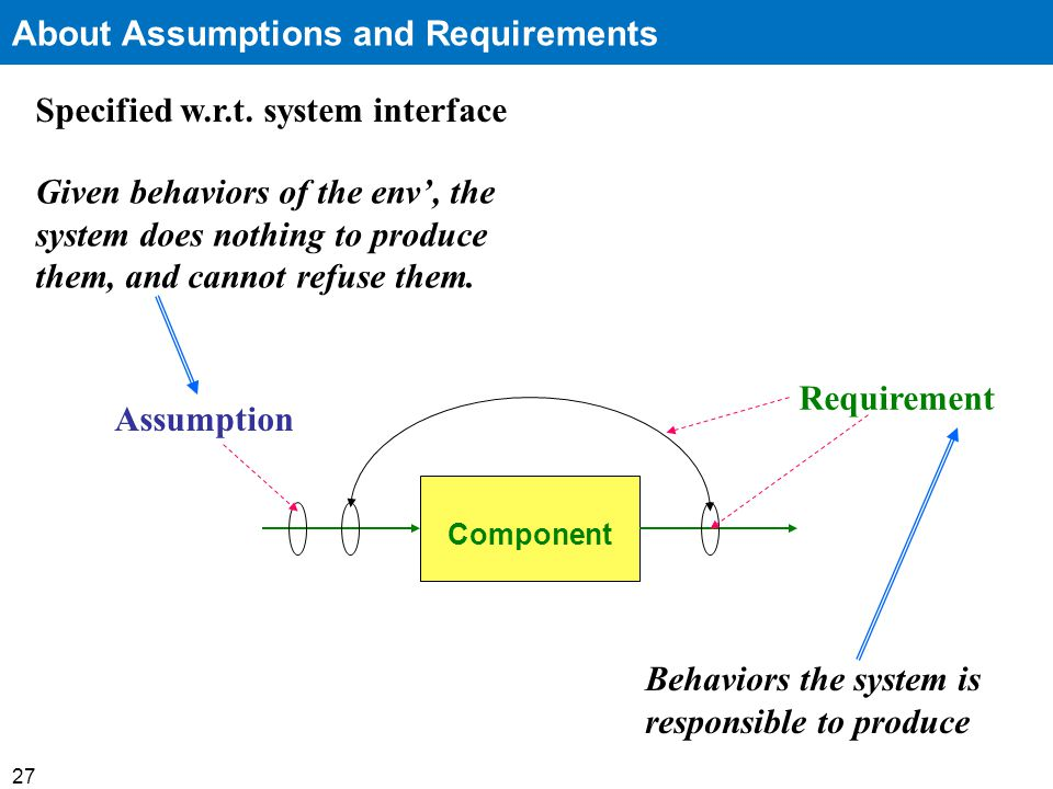 27 About Assumptions and Requirements Specified w.r.t.
