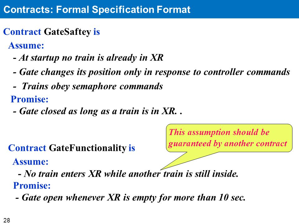 28 Contract GateSaftey is Assume: - At startup no train is already in XR - Gate changes its position only in response to controller commands - Trains obey semaphore commands Promise: - Gate closed as long as a train is in XR..