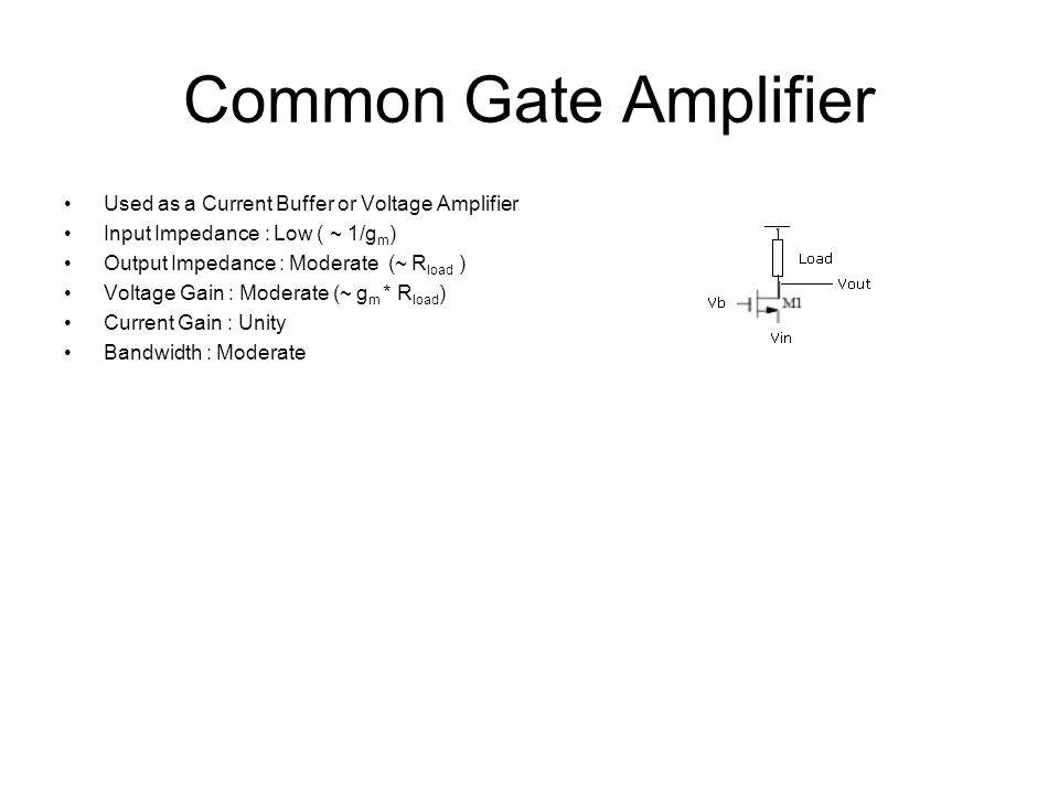 Common Gate Amplifier Used as a Current Buffer or Voltage Amplifier Input Impedance : Low ( ~ 1/g m ) Output Impedance : Moderate (~ R load ) Voltage Gain : Moderate (~ g m * R load ) Current Gain : Unity Bandwidth : Moderate