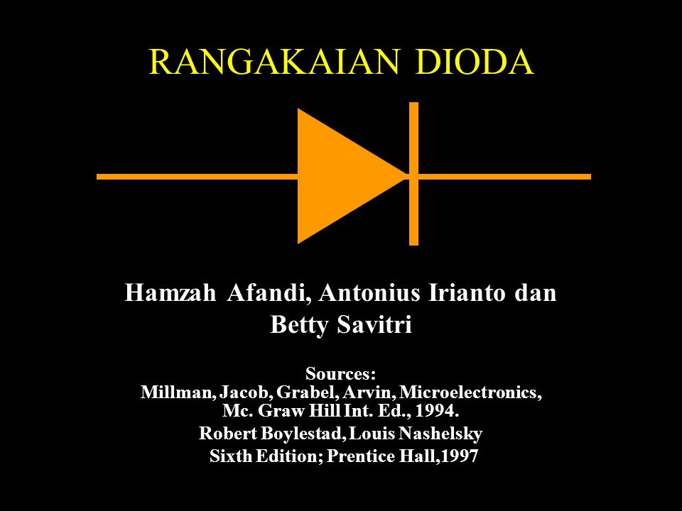 RANGAKAIAN DIODA Hamzah Afandi, Antonius Irianto dan Betty Savitri Sources: Millman, Jacob, Grabel, Arvin, Microelectronics, Mc.