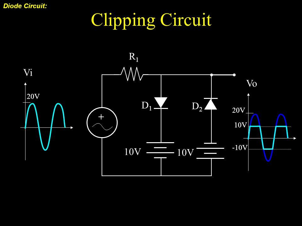 Clipping Circuit Diode Circuit: + 10V R1R1 D1D1 20V Vi 10V D2D2 20V Vo 10V -10V