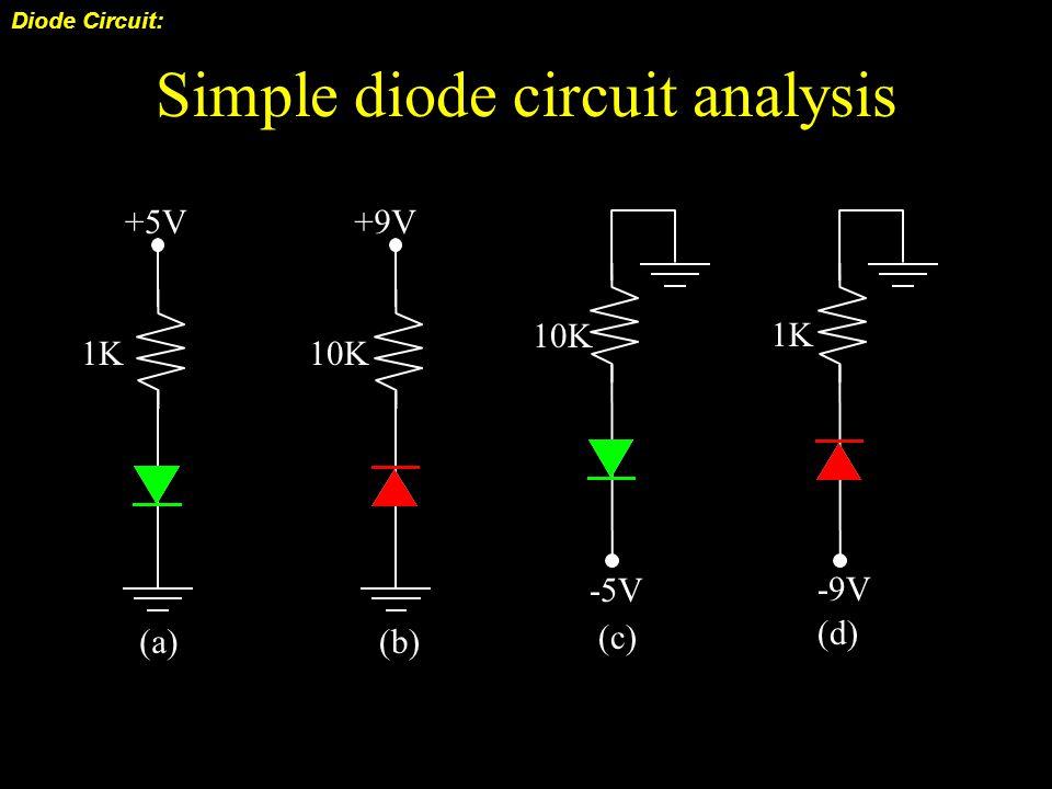 Simple diode circuit analysis Diode Circuit: +10V 2K 4K 6K R1R1 R2R2 R3R3 R4R4 D Q: V 12 = …..