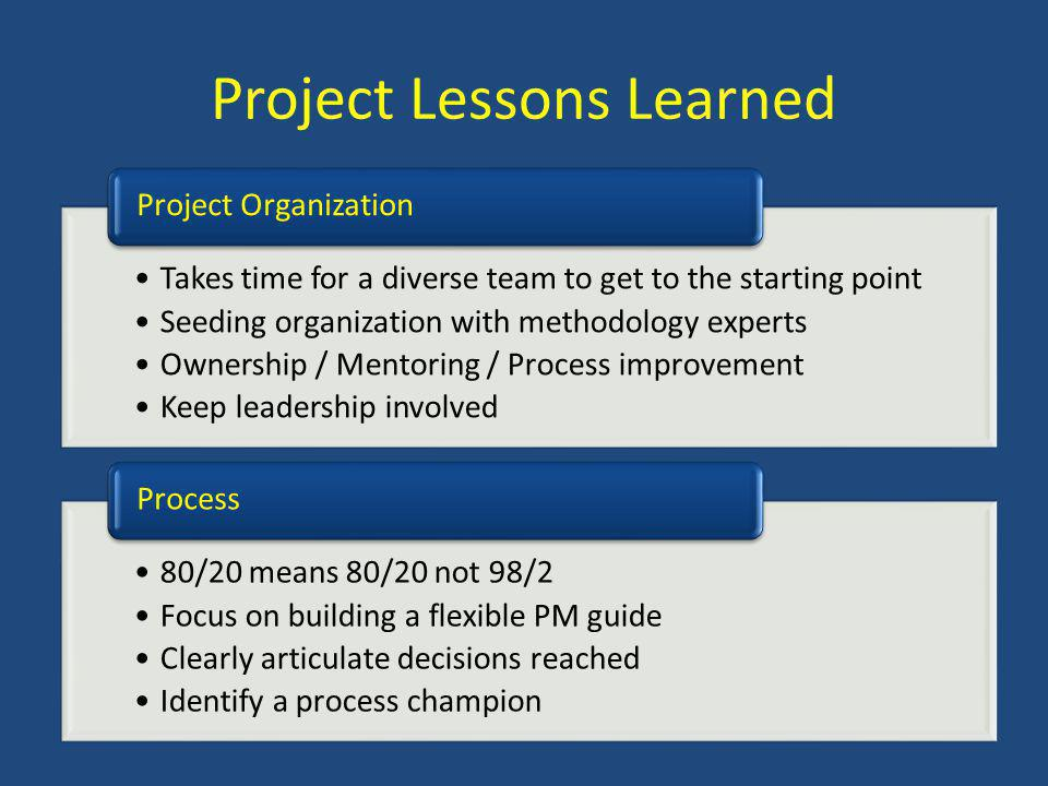 Project Lessons Learned Takes time for a diverse team to get to the starting point Seeding organization with methodology experts Ownership / Mentoring